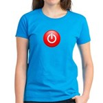 Red Power Button Women's Dark T-Shirt
