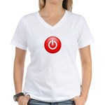 Red Power Button Women's V-Neck T-Shirt