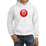 Red Power Button Hooded Sweatshirt