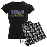 Starry / 2 Affenpinschers Women's Dark Pajamas