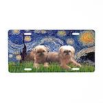 Starry / 2 Affenpinschers Aluminum License Plate