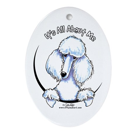 White Standard Poodle IAAM Ornament (Oval)