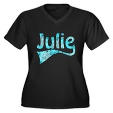 JULIE Women's Plus Size V-Neck Dark T-Shirt