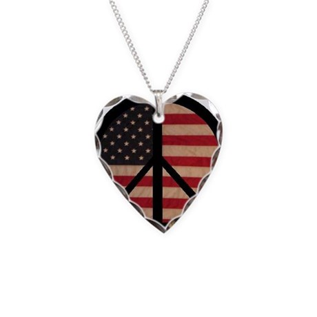 Peace w/ Flag of FREEDOM Necklace Heart Charm