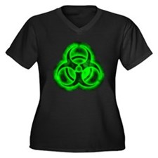 Green Glow Biohazard Women's Plus Size V-Neck Dark
