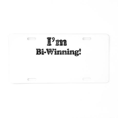 Vintage I'm Bi-winning Aluminum License Plate