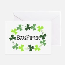 Bagpipe Shamrock Oval Greeting Card