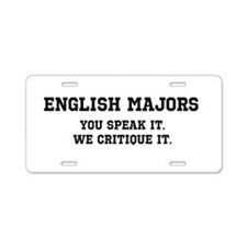 Cute English major Aluminum License Plate