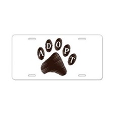 Animal Adoption Paw Aluminum License Plate