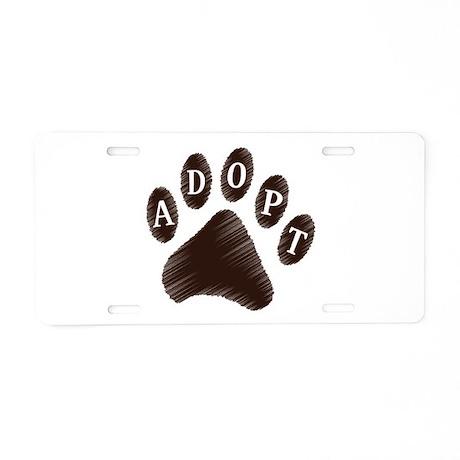Animal Adoption Paw Aluminum License Plate