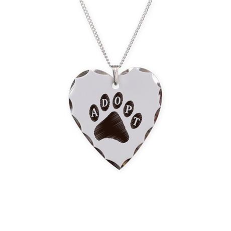 Animal Adoption Paw Necklace Heart Charm