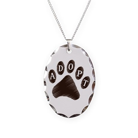 Animal Adoption Paw Necklace Oval Charm