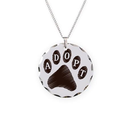 Animal Adoption Paw Necklace Circle Charm
