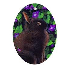 Bunny & Violets Ornament (Oval)