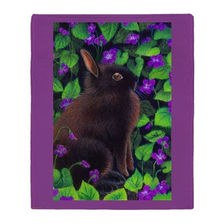 Bunny & Violets Throw Blanket