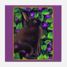 Bunny & Violets Tile Coaster