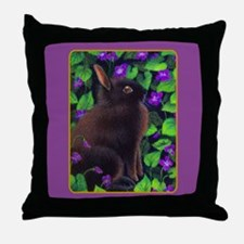 Bunny & Violets Throw Pillow