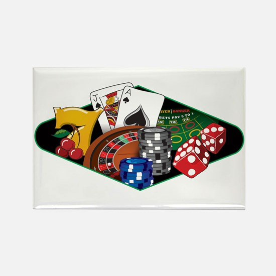 Casino Games Collage Rectangle Magnet
