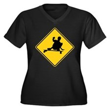 Slide area Women's Plus Size V-Neck Dark T-Shirt