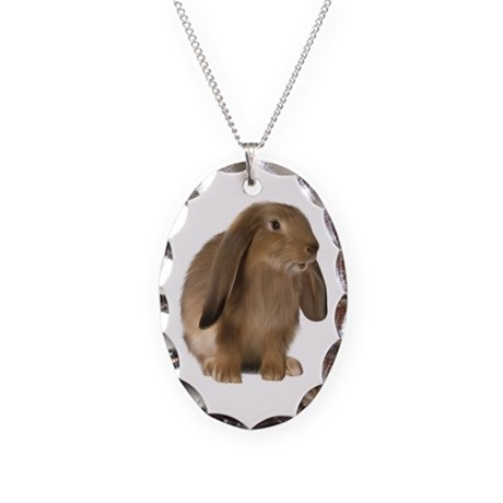 Bunny Necklace Oval Charm