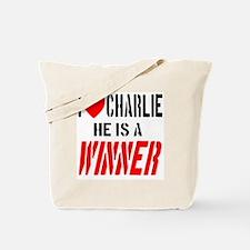 I Love Charlie He Is A Winner Tote Bag