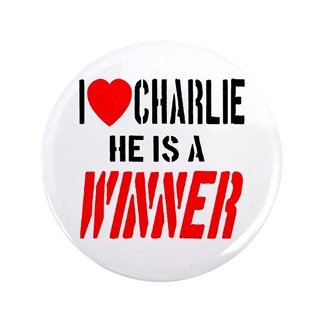 "I Love Charlie He Is A Winner 3.5"" Button (100 pac"