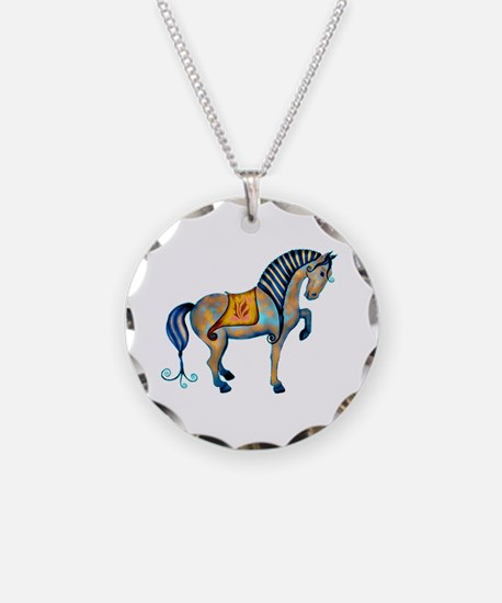Tang Horse Two Necklace Circle Charm