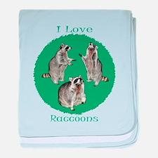 I Love Raccoons baby blanket