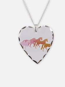 many horses Necklace Heart Charm