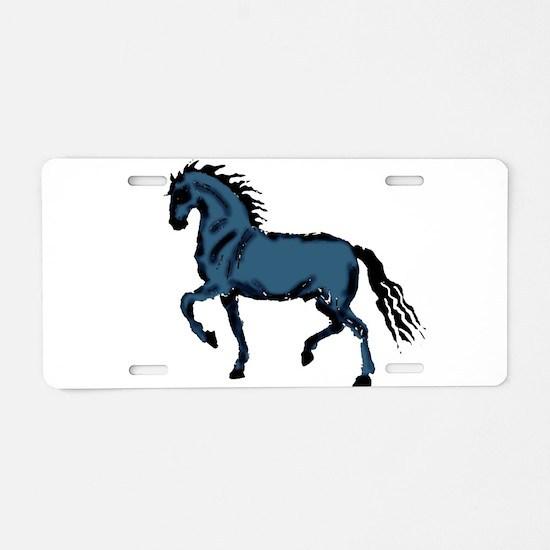 Baroque Horse Woodblock Aluminum License Plate