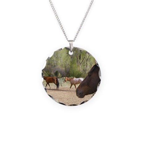 Horse Watching Horses Necklace Circle Charm