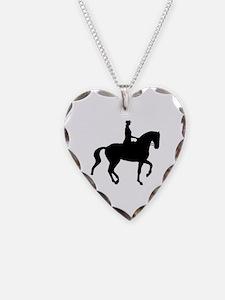 dressage silhouette Necklace Heart Charm