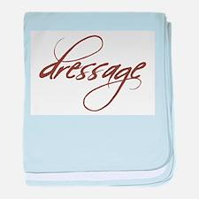 dressage (brown text) baby blanket