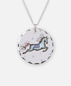 Starry Sky Horse Necklace Circle Charm