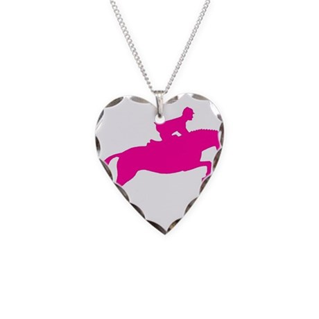 h/j horse & rider pink Necklace Heart Charm