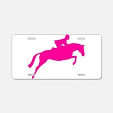 h/j horse & rider pink Aluminum License Plate