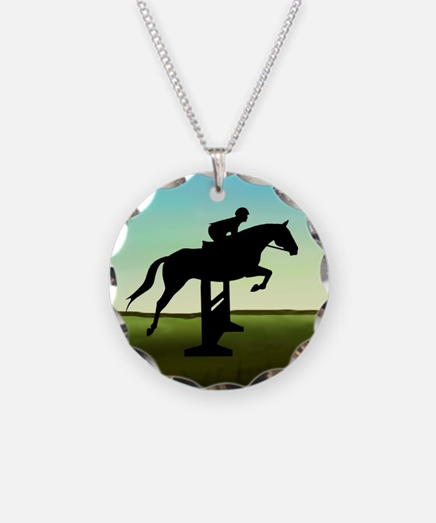 Hunter Jumper Grassy Field Necklace Circle Charm