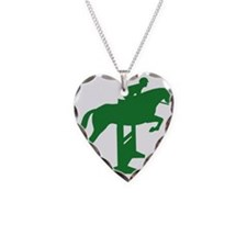 Hunter Jumper Fence Green Necklace Heart Charm