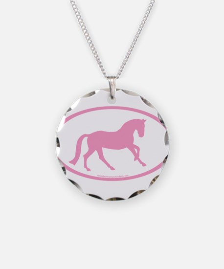 Pink Canter Horse Oval Necklace