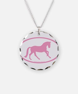 Pink Canter Horse Oval Necklace Circle Charm