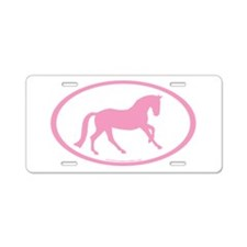 Pink Canter Horse Oval Aluminum License Plate