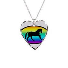 Canter Horse Rainbow Oval Necklace Heart Charm