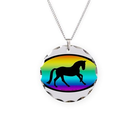 Canter Horse Rainbow Oval Necklace Circle Charm