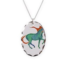 mosaic horse Necklace Oval Charm