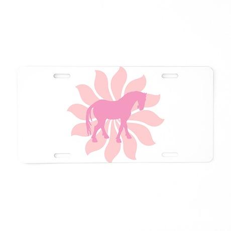 Pink Tang Horse Flower Aluminum License Plate