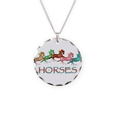 many leaping horses Necklace Circle Charm