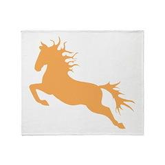 orange Leaping Horse Throw Blanket
