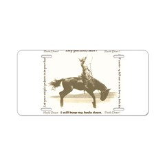 heels down cowgirl Aluminum License Plate