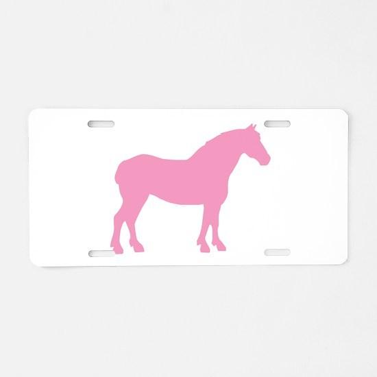 Pink Draft Horse Aluminum License Plate