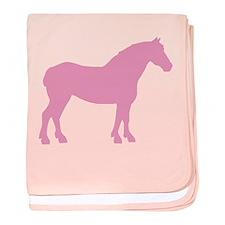 Pink Draft Horse baby blanket